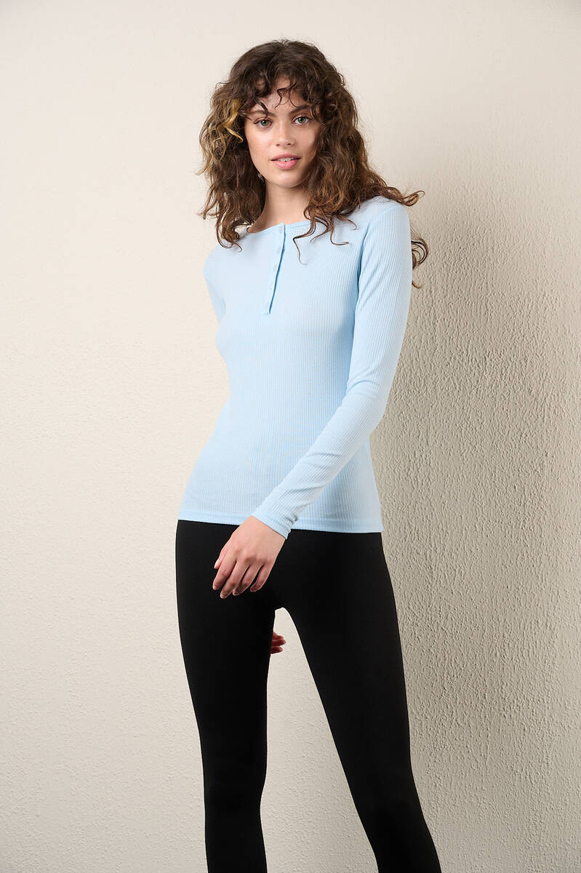 Zechka - Bebe Mavisi Yarım Düğmeli Uzun Kol Body