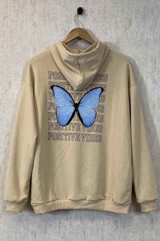 Zechka - Bej Kanguru Cepli Sırt Baskılı Oversize Sweatshirt (zck0354)