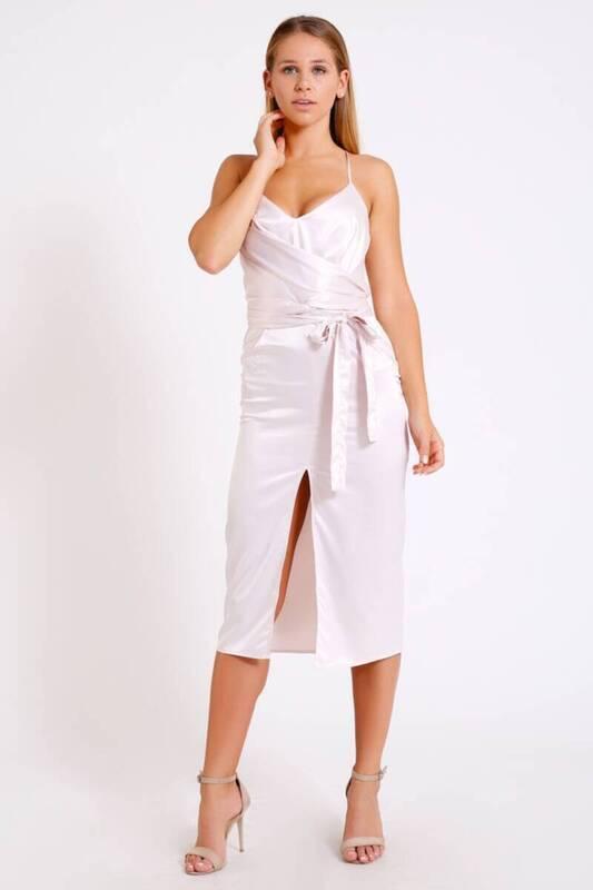 ZECHKA - BEYAZ Açık Yaka Askılı Uzun Elbise (BS057)