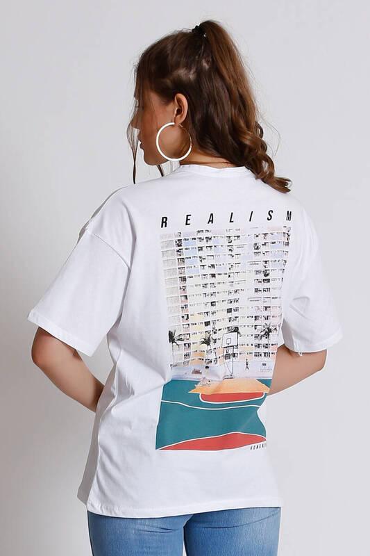 ZECHKA - BEYAZ Arkası Realism Baskılı T-Shirt (SA032)