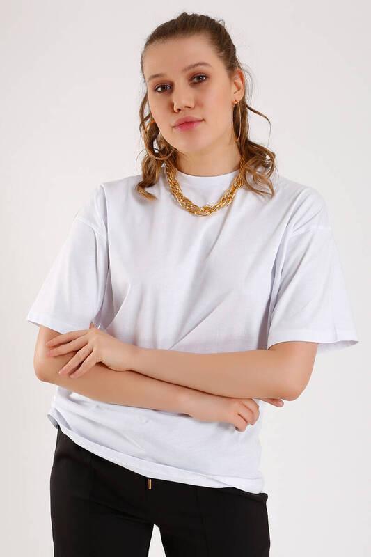 ZECHKA - BEYAZ Boyfriend Basic T-Shirt (SN026)