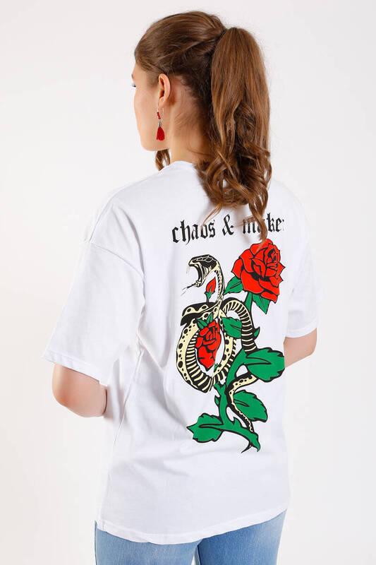 Zechka - BEYAZ Gül ve Yılan Baskılı Boyfriend T-shirt (SA038)