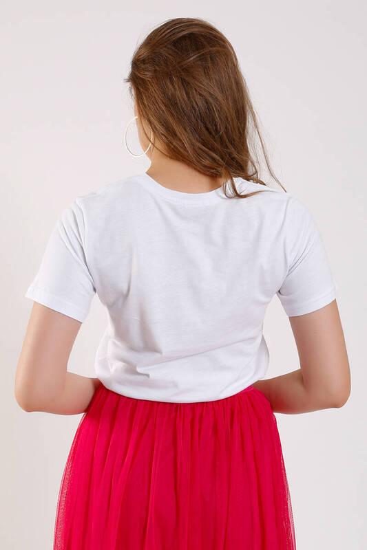 ZECHKA - BEYAZ Innocence Baskılı T-Shirt (SA039)