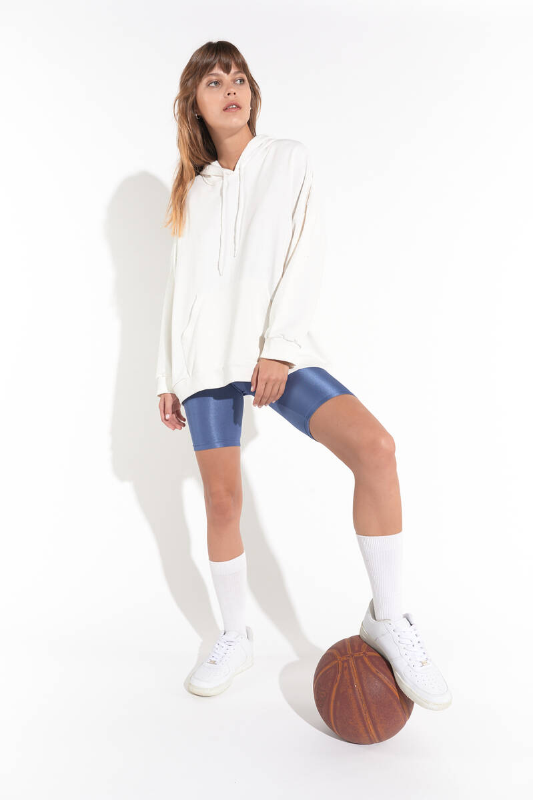 Zechka - Beyaz Kanguru Cep Kapüşonlu Oversize Sweatshirt (zck0110)