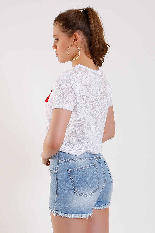 ZECHKA - BEYAZ Kırmızı Cepli Basic T-Shirt (ZA002)