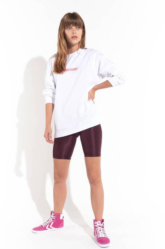 Zechka - Beyaz Ön Arka Baskılı Oversize Sweatshirt (ZCK0128)