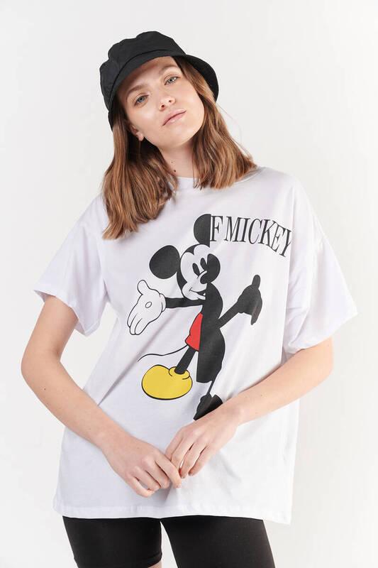 Zechka - Beyaz Ön Arka ''Mickey Mouse'' Baskılı Oversize Tişört (ZCK0256)