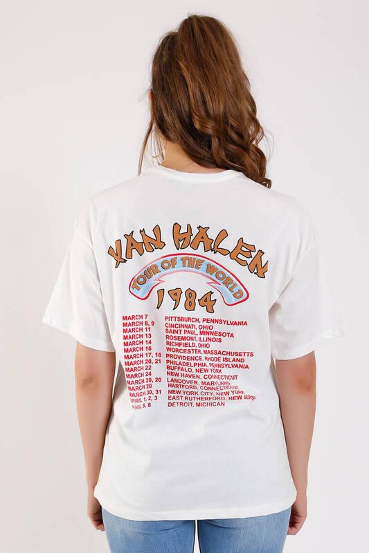 ZECHKA - BEYAZ Ön Arka Van Halen Baskılı T-Shirt (SA048)