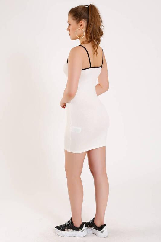 ZECHKA - BEYAZ Önü Yazılı Askılı Elbise (ZA011)