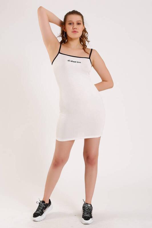 BEYAZ Önü Yazılı Askılı Elbise (ZA011)