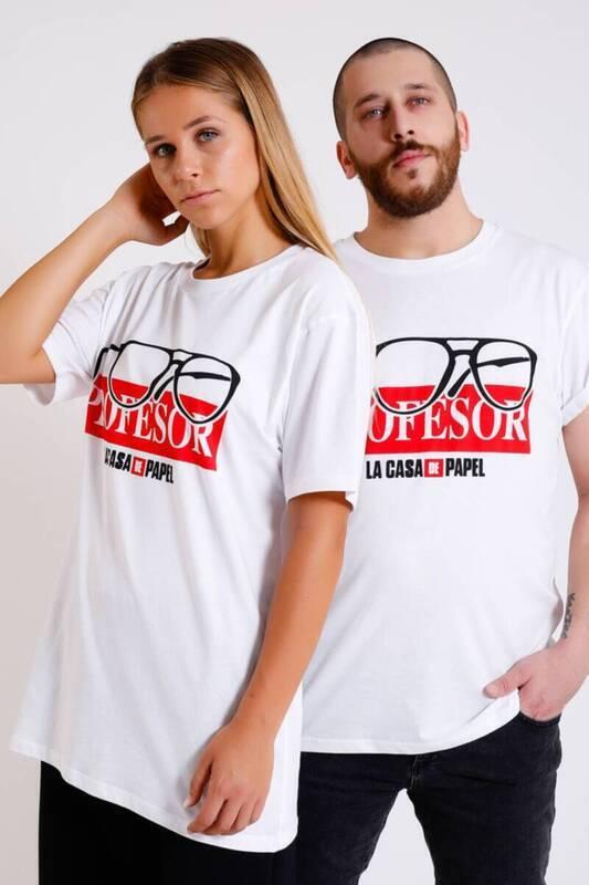 Zechka - BEYAZ Profesör Baskılı Double Match T-Shirt (KA002)