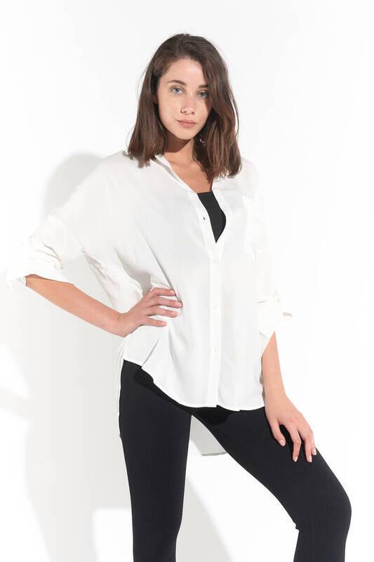 Zechka - Beyaz Tunik Gömlek (ZCK0152)