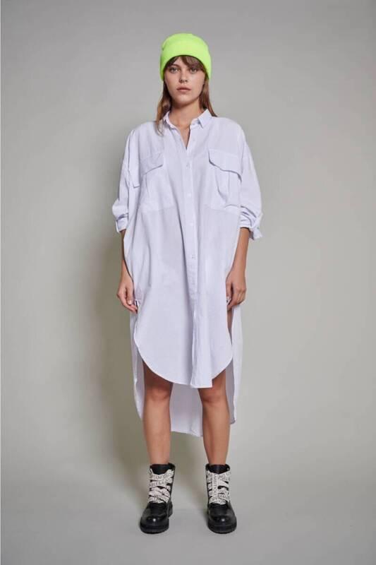 ZECHKA - BEYAZ Uzun Oversize Elbise Gömlek(ZCK0194)