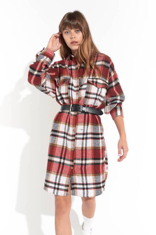 Zechka - Bordo Ekose Desenli Oduncu Gömlek Elbise (ZCK0159)