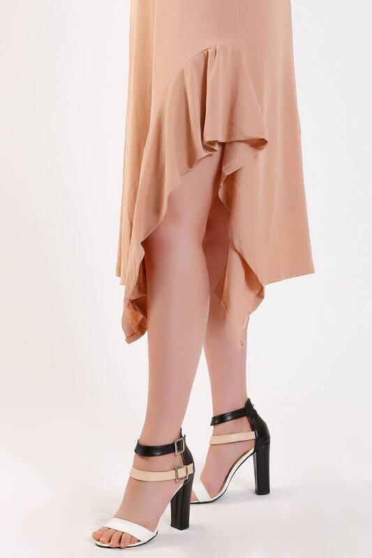ZECHKA - EKRU Askılı Eteği Fırfırlı Elbise (ZA013)