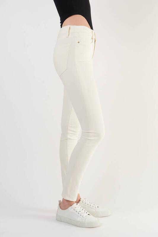 Zechka - Ekru Yüksek Bel Yumuşak Kumaş Dar Paça Pantolon (ZCK0283)