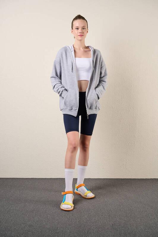 Zechka - Gri Fermuarlı Kapüşonlu Oversize Sweatshirt (zck0341)
