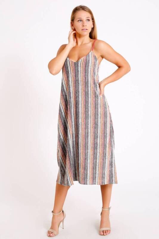 ZECHKA - GRİ İp Askılı V Yaka Uzun Elbise (BS038)