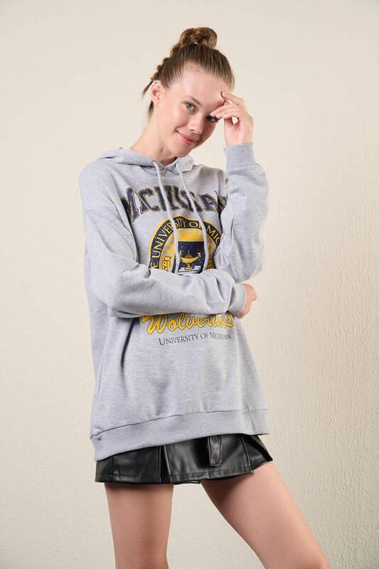 Zechka - Gri Kapüşonlu Baskılı Oversize Sweatshirt (zck0321)
