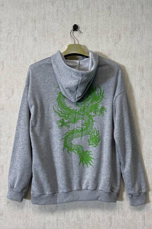 Zechka - Gri Kapüşonlu Sırt Baskılı Oversize Sweatshirt (zck0349)