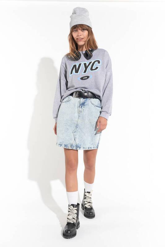ZECHKA - GRİ NYC Baskılı Oversize Sweatshirt