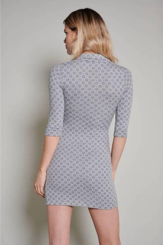 Gri Örme Polo Yaka Kare Desen Elbise (ZCK0223)