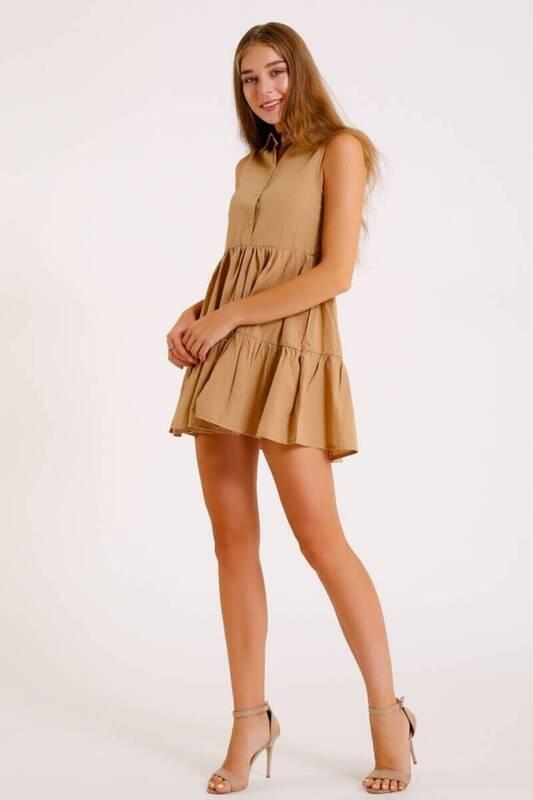 HARDAL Kolsuz Önden Düğmeli Dokuma Elbise (zck017)