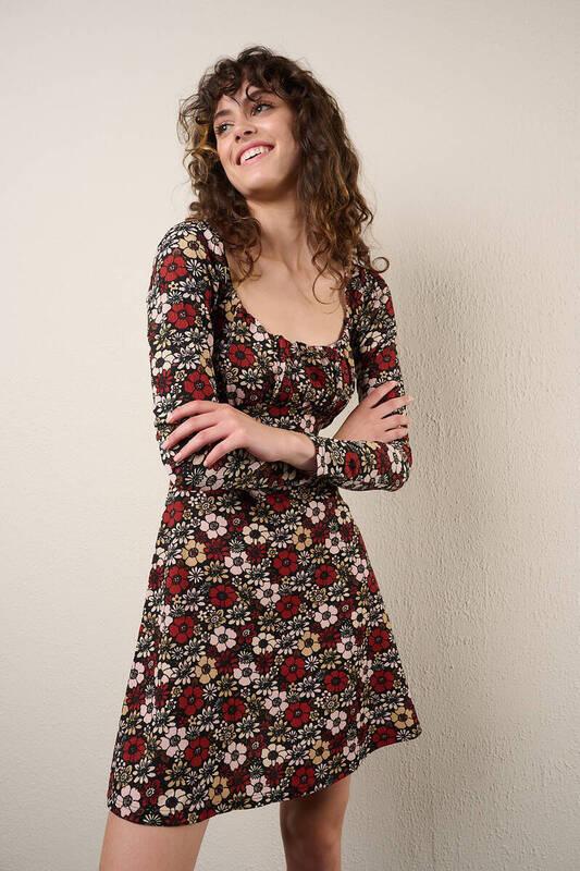 Zechka - Kahverengi Çiçek Desenli Elbise (zck0338)