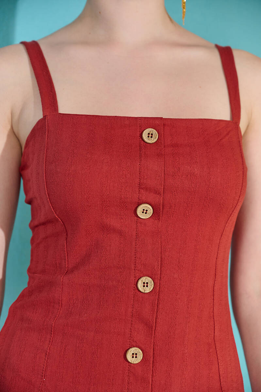Kiremit Askılı Düğme Detaylı Keten Elbise (zck0306)