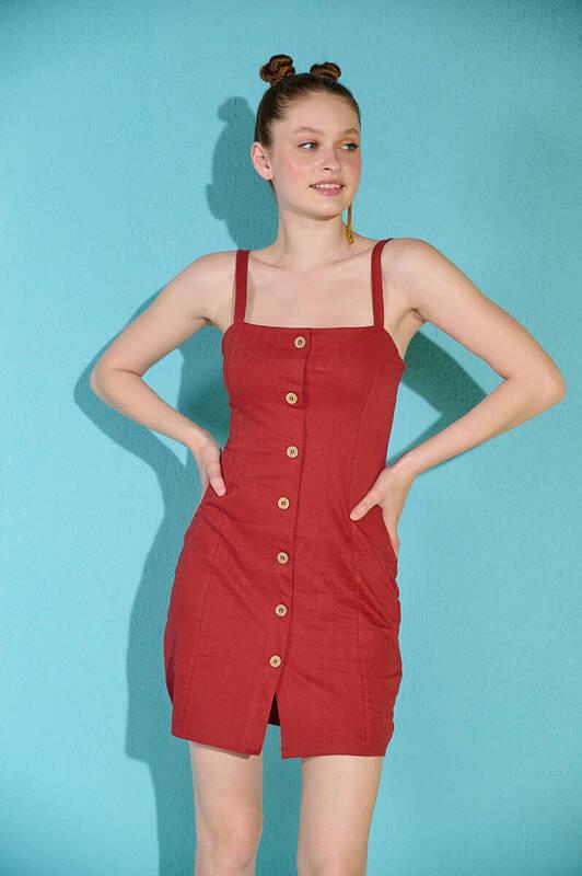 Zechka - Kiremit Askılı Düğme Detaylı Keten Elbise (zck0306)