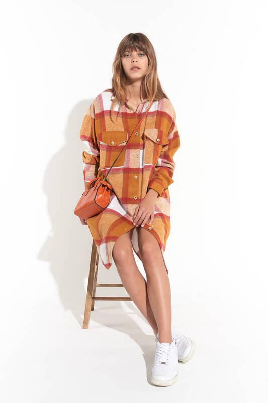 Zechka - Kiremit Ekose Desenli Oduncu Gömlek Elbise (ZCK0159)
