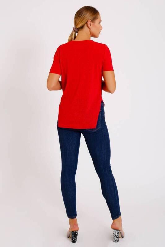 ZECHKA - KIRMIZI Yanı Yırtmaçlı T-Shirt (ZA003)