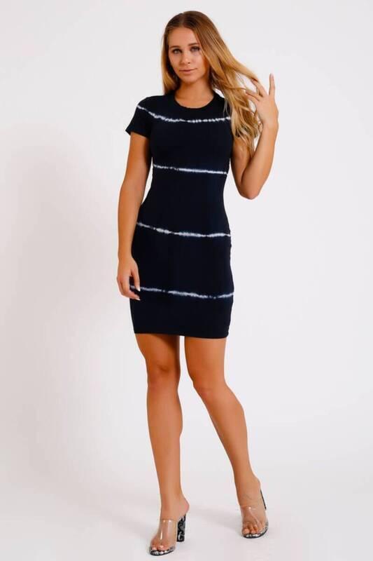 LACİVERT Bel Dekolteli Batic Elbise (İE001)