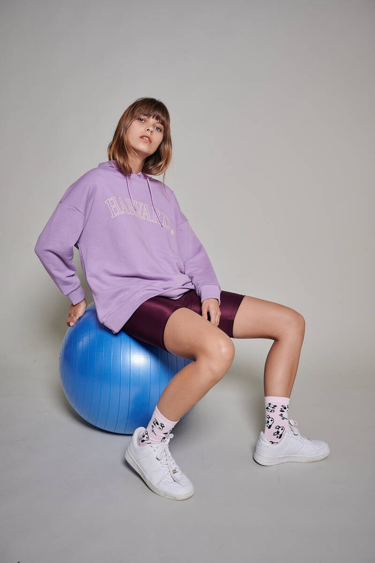 Zechka - Lila Harvard Baskılı Oversize Sweatshirt