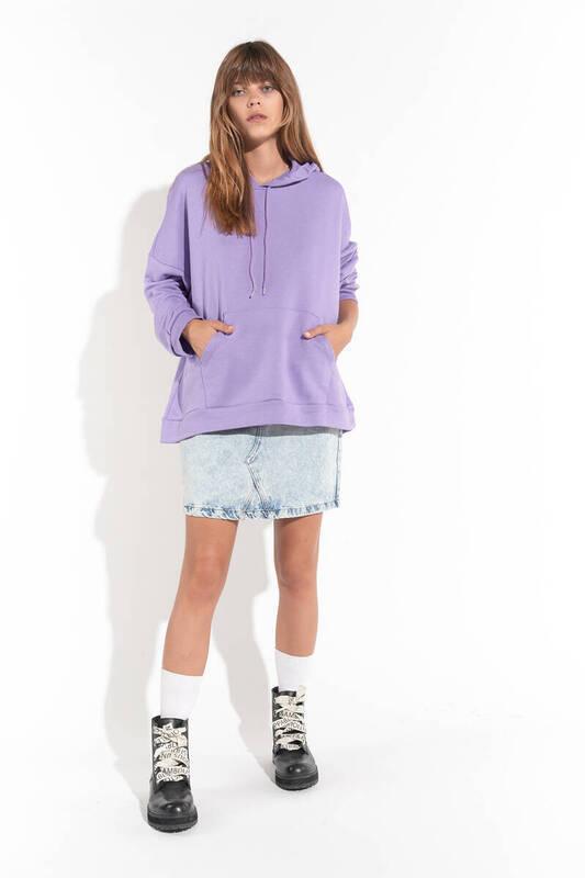 Zechka - Lila Kanguru Cep Kapüşonlu Oversize Sweatshirt(zck0110)