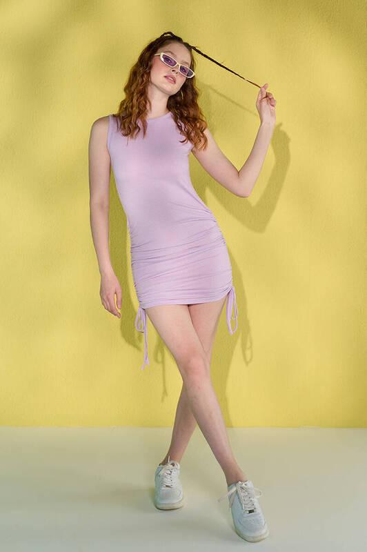 Zechka - Lila Kolsuz Yanları Büzgülü Kaşkorse Elbise