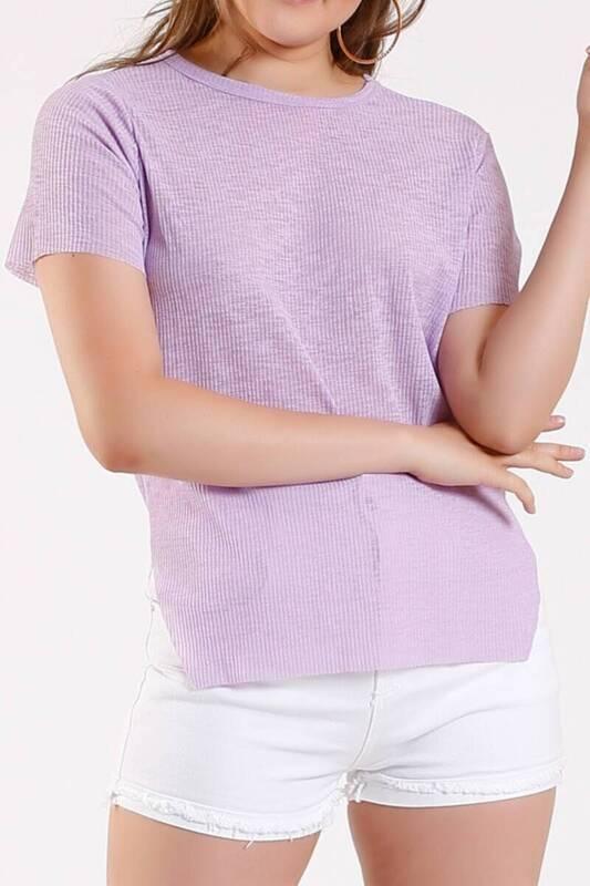 ZECHKA - LİLA Yanı Yırtmaçlı T-Shirt (ZA003)