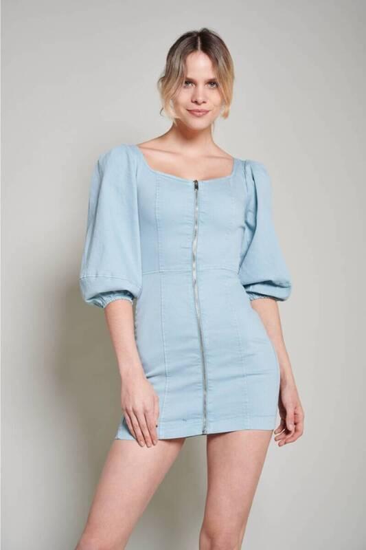 Mavi Balon Kol Denim Kumaş Elbise (ZCK0229)