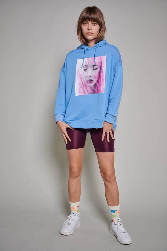 Zechka - Mavi Baskılı Oversize Sweatshirt (ZCK0214)
