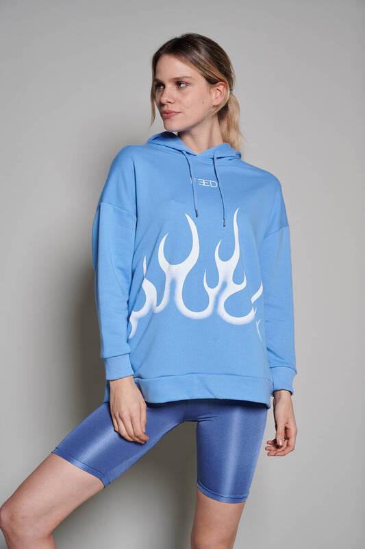 Zechka - Mavi Feed Baskılı Sweatshirt (ZCK0231)