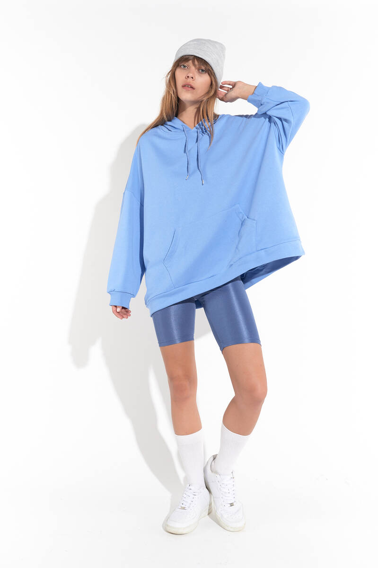Zechka - Mavi Kanguru Cep Kapüşonlu Oversize Sweatshirt(zck0110)
