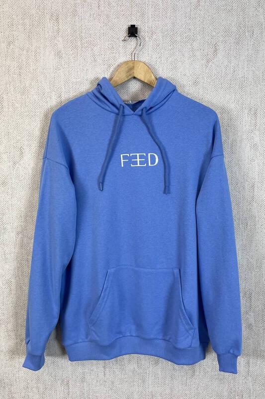 Zechka - Mavi Kapüşonlu Sırt Baskılı Oversize Sweatshirt (zck0353)