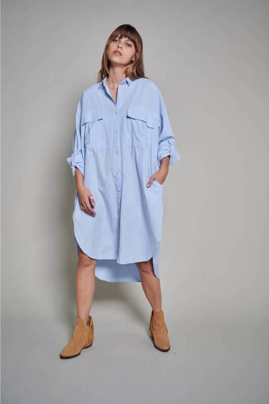 ZECHKA - MAVİ Uzun Oversize Elbise Gömlek(ZCK0194)