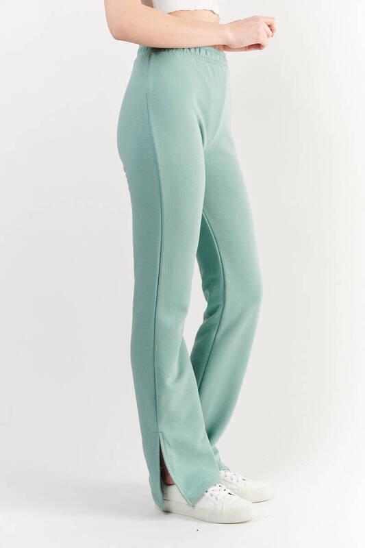 Zechka - Mint Yeşili Yüksek Bel Paçası Yırtmaçlı Eşofman Altı (ZCK0261)