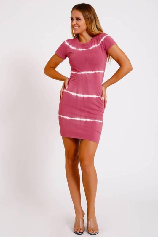 ZECHKA - PEMBE Bel Dekolteli Batic Elbise (İE001)
