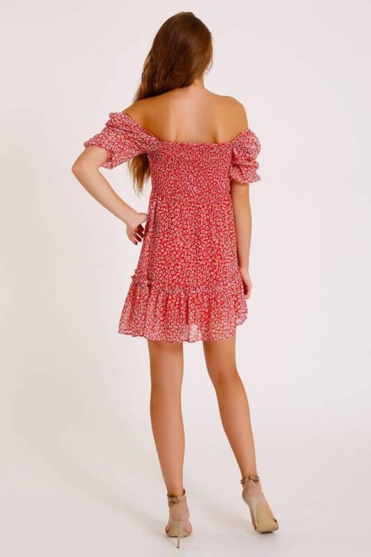 ZECHKA - PEMBE Eteği Fırfırlı Çiçekli Şifon Elbise (ZCK016)
