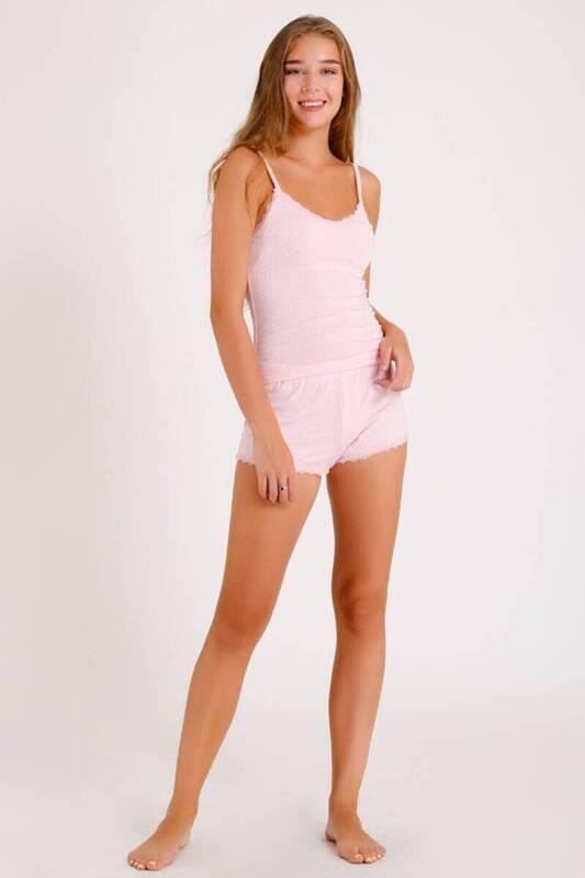 ZECHKA - PEMBE İp Askılı Taş İşlemeli Şortlu Pijama Takımı (ZCK050)