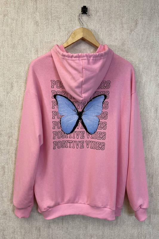 Zechka - Pembe Kanguru Cepli Sırt Baskılı Oversize Sweatshirt (zck0354)