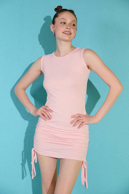 Zechka - Pembe Kolsuz Yanları Büzgülü Kaşkorse Elbise
