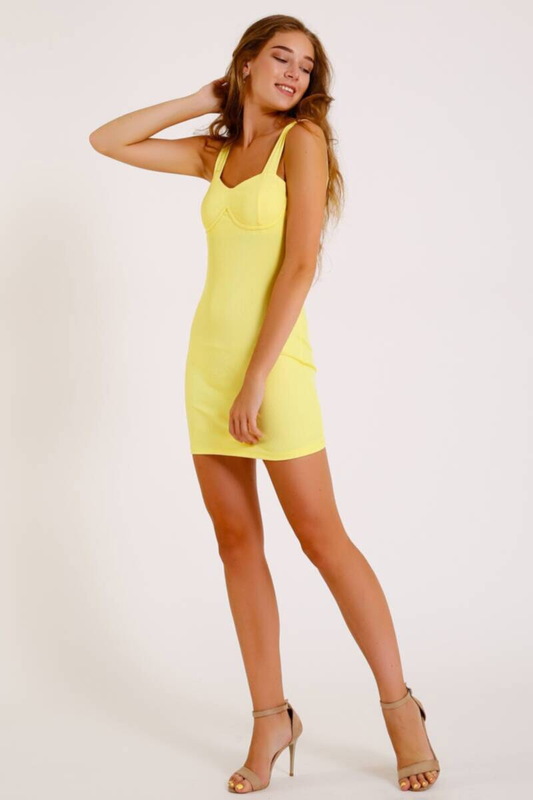 SARI İnce Triko Mini Elbise (ZCK039)